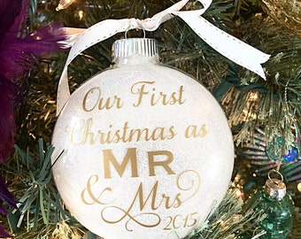 "Our First Christmas Ornament - Wedding Present - Bridal Shower Gift - Gold Glitter Christmas Ornament - Customizable 4"" Glass Ornament"