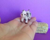 Miniature Baby Pig, Handmade Pig, Dollhouse Baby Pig , Flocked pig , Mini Pig, Clay Pig, Sculpted Baby Pig,  Dollhouse Animals