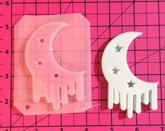 ON SALE Drippy moon with stars flexible plastic resin mold