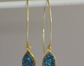 Natural Blue Druzy Earrings