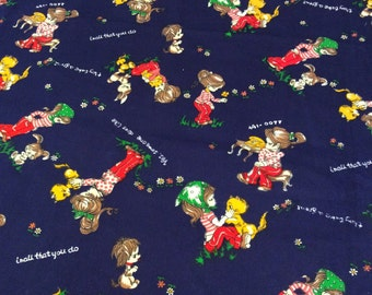 Vintage Girl Kitten Novelty Fabric