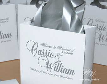 Silver Wedding Welcome Bags with satin ribbon and names - Elegant Personalized Paper Bag - White and Silver - Custom Wedding Gift bags