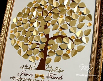 Gold Wedding Tree - Wedding Guest Book Ideas - Love birds - 3d guestbook tree - Modern alternative to traditional guestbooks