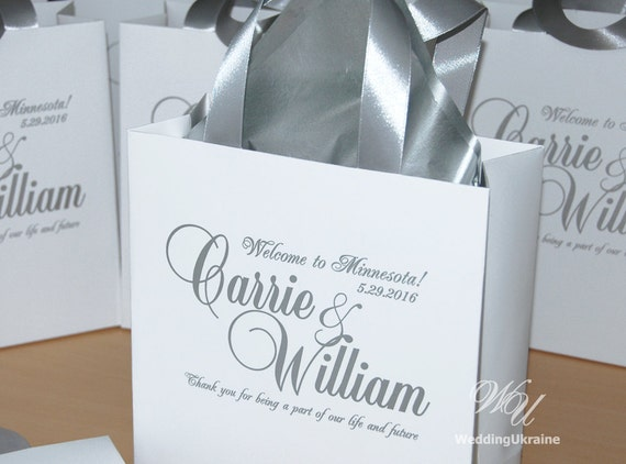 Welcome Wedding Gift Bags: Silver Wedding Welcome Bags With Satin Ribbon And Names