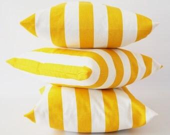 Yellow stripe 24x24 pillow cover, yellow white pillow, corn yellow pillow, striped slub pillow cover, throw pillows.cushion, decorative