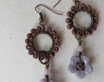 Lilac loop dangly earrings, Czech glass flowers, deep pink, copper