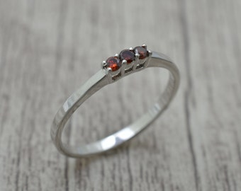 Silver ring with Garnet, engagement ring
