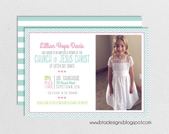 Baptism Invitation, Baptism Announcement for Girls or Boys 2, Customized, Digital File