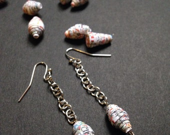 Upcycled Atlas Earrings - Oh, The Places You Go