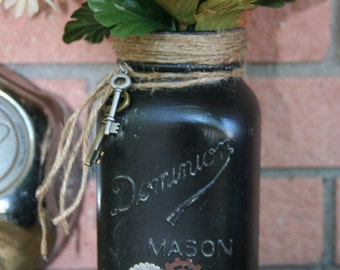 Mason jar, hand painted, vase, steam punk, dominion, ball, kerr