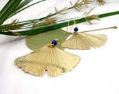 Big ginkgo lapis pendants, statement leaf earrings, big light golden earrings, leaf golden earrings, fairy earrings.