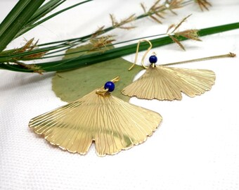 Big earrings, ginkgo earrings, lapis earrings, leaf earrings, light earrings, golden earrings, maidenhair earrings, valentines gift