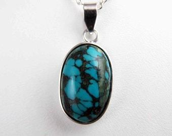 Genuine Turquoise Pendant Tibet Turquoise Pendant Necklace Turquoise Necklace Handmade Jewelry