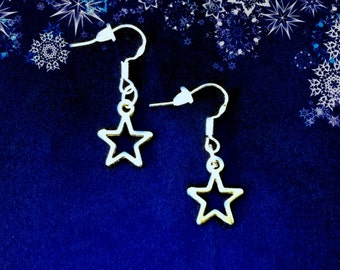 50% On SALE Christmas Earrings..Silver Star Earrings..Small Star Earrings..Star Dangle Earrings..Holiday Earrings..925 Wires FREE SHIPPING