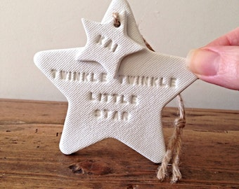 Twinkle Twinkle personalised new baby gift / white clay star / christening gift / nursery decor