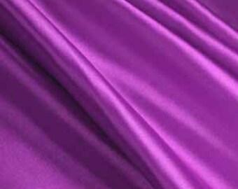 "Purple Solid Satin Charmeuse Fabrics - Apparel Wedding Home Decor - By The Yard - 60"""