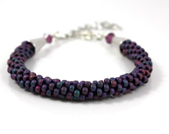 Glass Beaded Bracelet - Purple Bracelet - Beaded Kumihimo Bracelet - Womens Bracelet - Birthday Gift - Unique Gift - Gift for Her