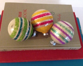 Three Vintage Shiny Brite Striped Ornaments with Mica  in Pink Yellow Green Blue and Purple Mid Century