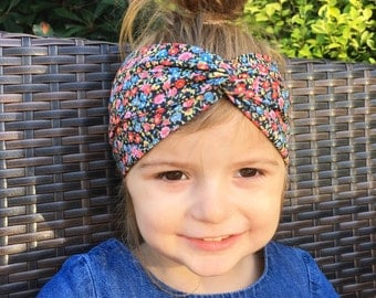 Baby floral headband / head wrap / ditsy floral twist headband / baby turban / toddler head wrap /turban / hipster girls headband