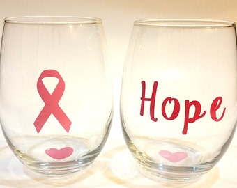 Set of 2 Breast Cancer Awareness Stemless Wine Glasses with Pink Ribbon and Hope