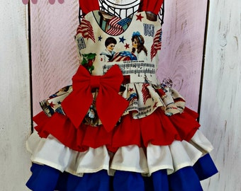 Vintage Inspired 4th of July Ruffle Dress