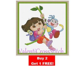 Dora  the explorer Cross Stitch Pattern, Cartoon, Nickjr, Nickelodeon, Movie, for girls