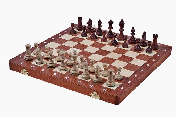 Brand new hand crafted luxury tournament 3 wooden chess set for Hand crafted chess set