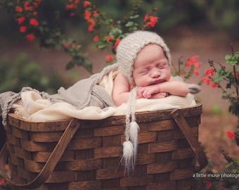new born grey mohair bonnet,organic baby bonnet