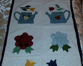 Hand- Appliqued Wall Hanging, Shabby Chic, Country Decor-  Navy Blue Brocade Back