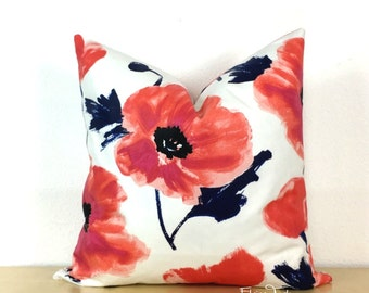 Maraschino Poppy Pillow Cover -  Knife Edge -  Same Fabric Both Sides - Large Scale Floral - Kravet - Famous Designer