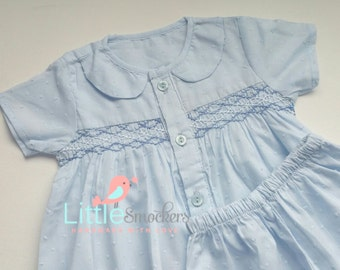 Hand Smocked Baby Boys Shirt & Shorts in baby blue