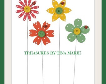 """3"""" FLOWER Pick's with Button and Ladybug- SET OF 4"""