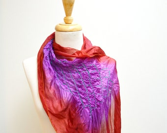 Red Embroidered Scarf / Silk Scarf