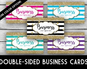 Printed - Double-Sided Business Card - STRIPES & Glitter, Business Cards, Marketing Tools, Calling Cards, Gold Glitter, Stationery, Office