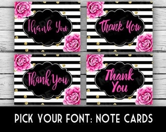 Thank You Note Card Set - Pink Peonies, Pick Your Font, Stationery, Printed Stationery, Thank You Cards