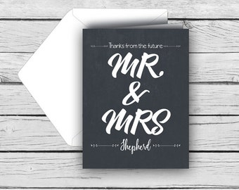 Printed THANK YOU from the FUTURE Mr. & Mrs.-Personalized Note Card Set, Wedding Note Cards, Printed Thank You Cards, Stationery