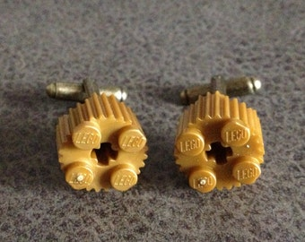 Lego Cufflinks, Gold Circular Grooved