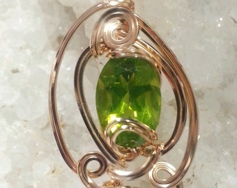 Wire Wrapped Peridot 4.03 Carat Sculptured Wire Pendant