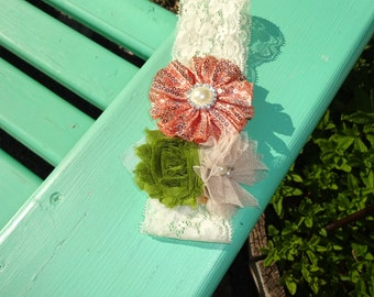Baby Girl Headband ~ The Emma ~ Rose Gold, Tan and Moss Green ~ 6-12 months
