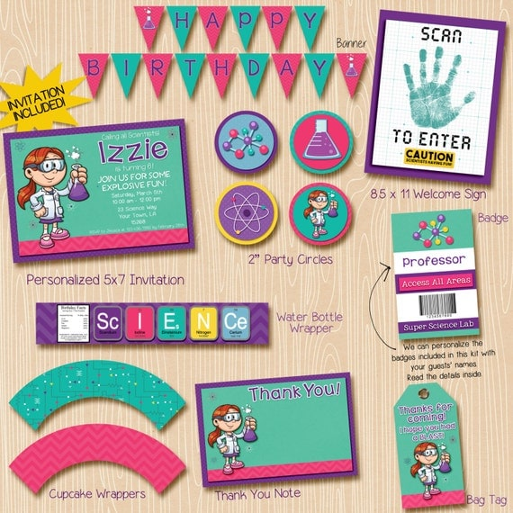 Science Party Invitation / science party decorations / red hair scientist