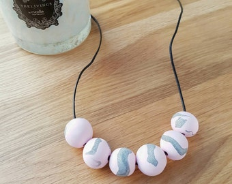 Handmade polymer clay beaded necklace- marbled pink and silver