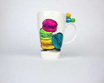 Macaroons Coffee Mug, Macaroons 13 oz Mug, Hand Painted Mug, Macaron Mug Cup, Macaroon Porcelain Mug