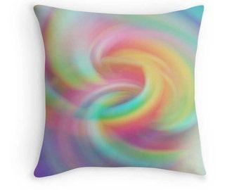 Rainbow Swirl Pillow, Candy Colors Toss Pillow, Abstract Rainbow Bedding, Rainbow Throw Pillow, Rainbow Pillow, Rainbow Cushion, Rainbow