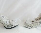 John Tenniel's Classic 1865 Vintage Alice In Wonderland Decoupage Custom Women Glitter Shoe High Heel Black White Size 3 4 5 6 7 8 Platform