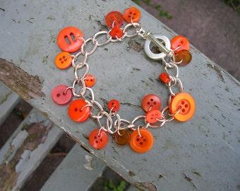 Orange button toggle bracelet