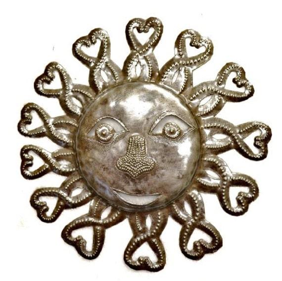 "Heart Rays Sun, Haiti Metal Art, Recycled Steel Handmade 11"" x 11"""