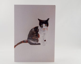 Cat Greetings card hand painted and printed by Ruth Goodwin, Birthday, Children, animals, Blank, Thank you, Notecards.