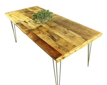 PATCHWORK DINING TABLE- Reclaimed,salvaged wood table, Steel Hairpin legs, Entrance counter, Home Living,Handmade Furniture