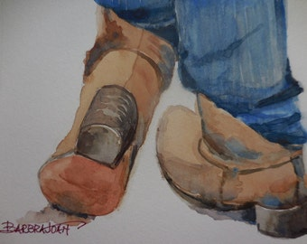 Western watercolor, original watercolor painting, Western boots painting