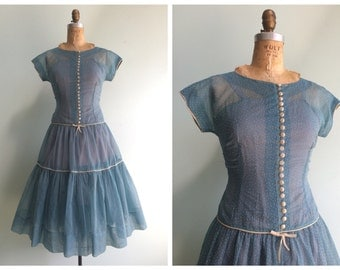 Vintage 1950's Sheer Swiss Dot Party Dress | Size Small